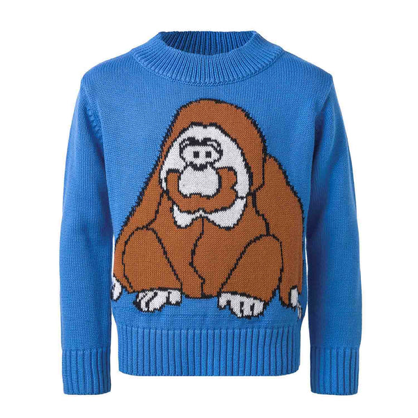 Blue Knitted Sweater with Orangutan