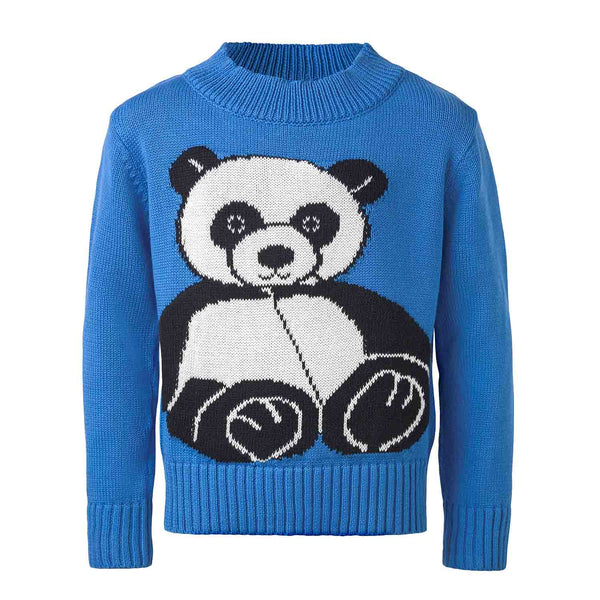 Blue Knitted Sweater with Panda