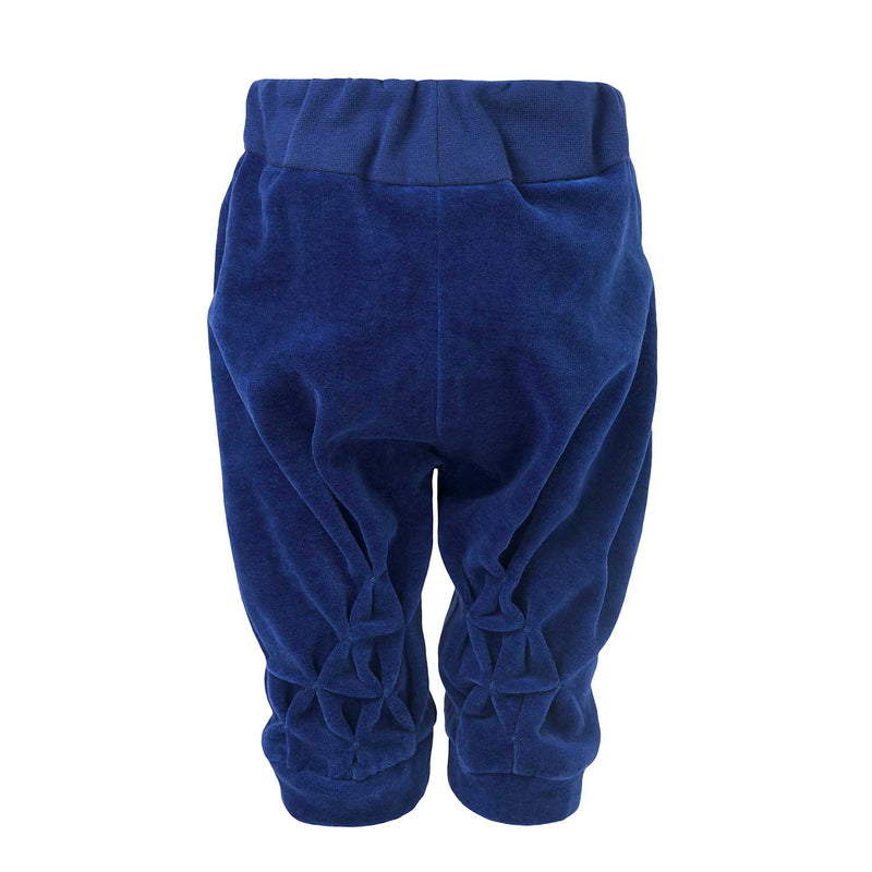 Blue Velvet Baby Pants with Hand Smock