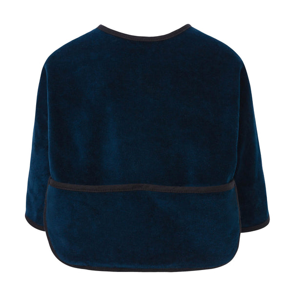 Blue Velvet Bib with Sleeves