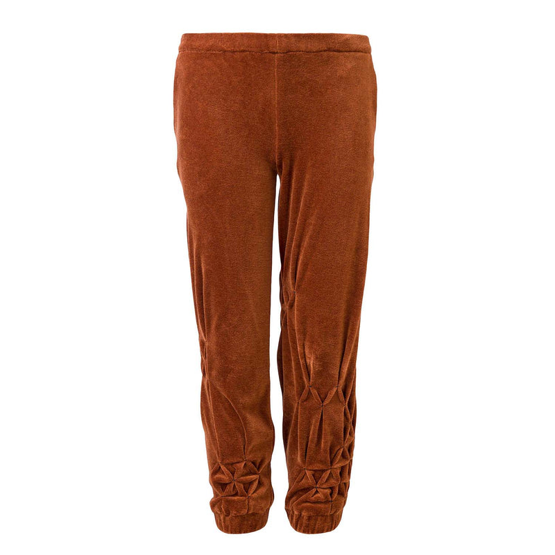 Copper Velvet Track Pants with Hand Smock