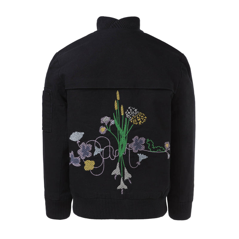 Black Bomber Jacket with Floral Emproidery