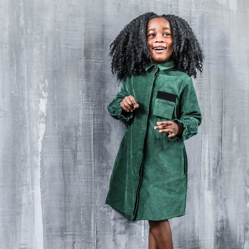 Green Velvet Dress for Girls