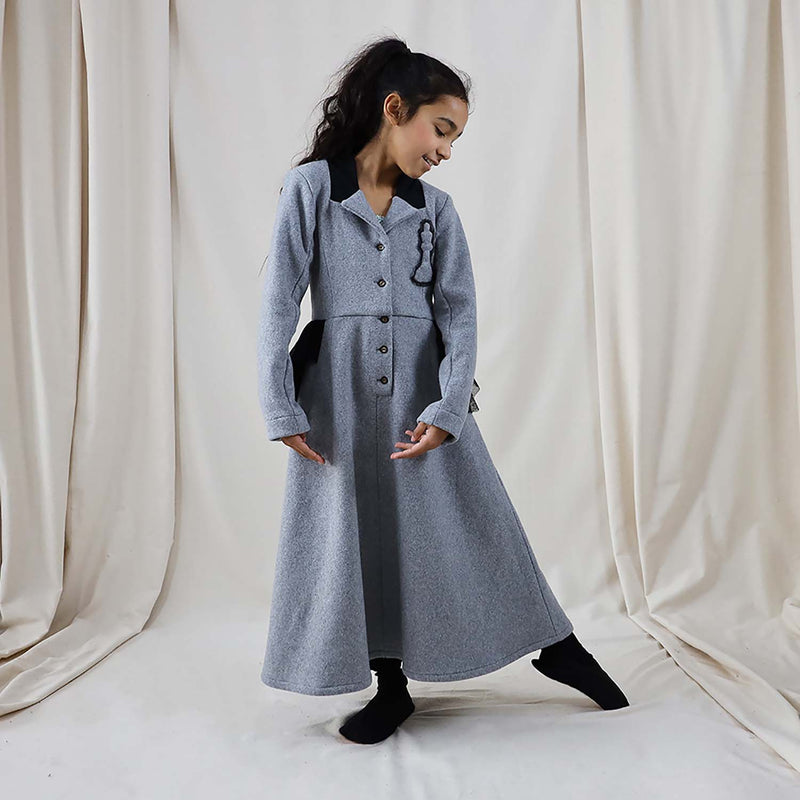 Grey Fleece Bustle Dress