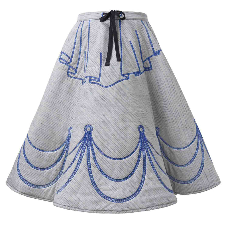Grey Padded Circle Skirt with Blue Embroidery