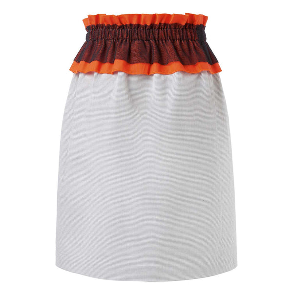 Grey Stripes Skirt with Ruffles
