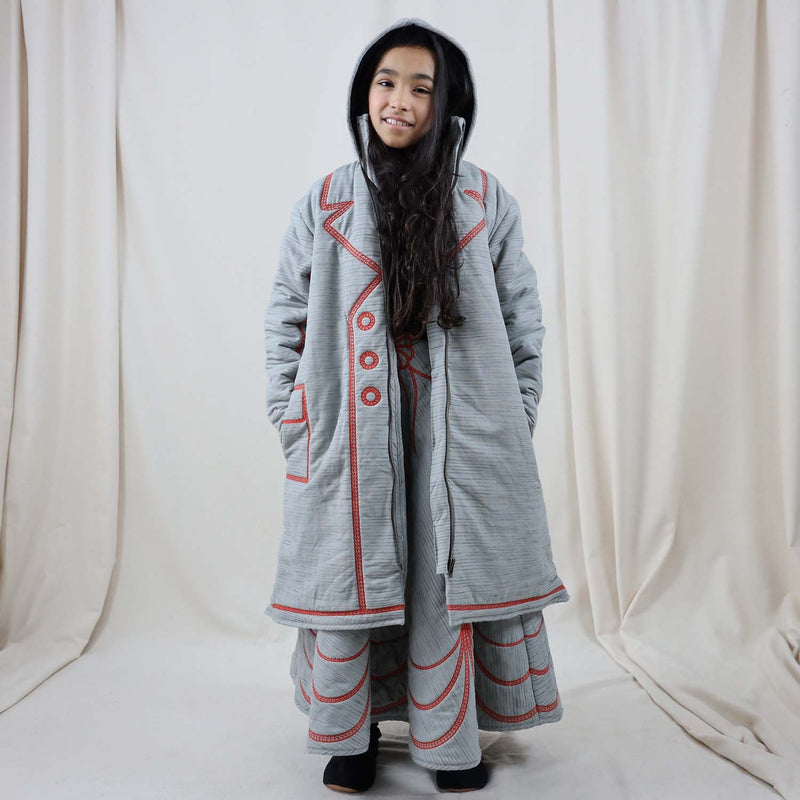Oversized Coat with Red Emboidery