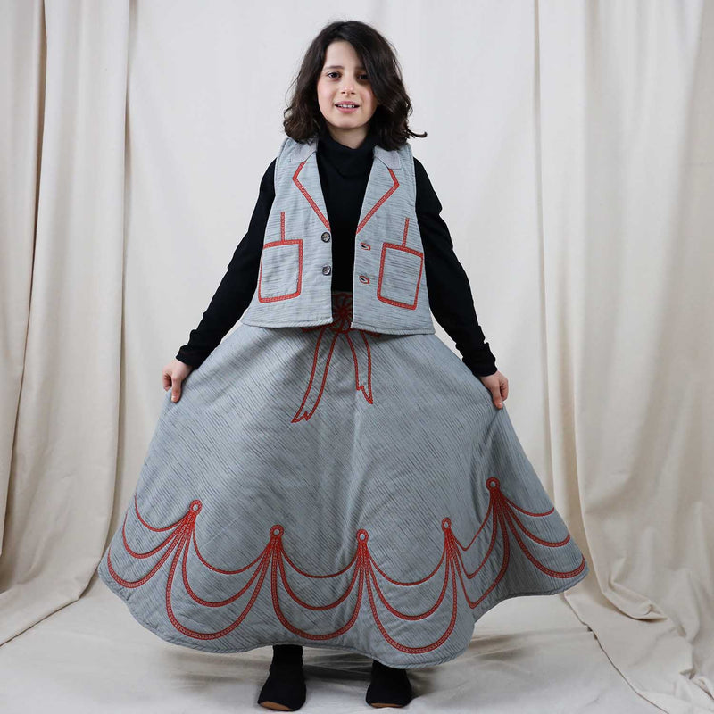 Padded CIrcle Skirt with Red Embroidery