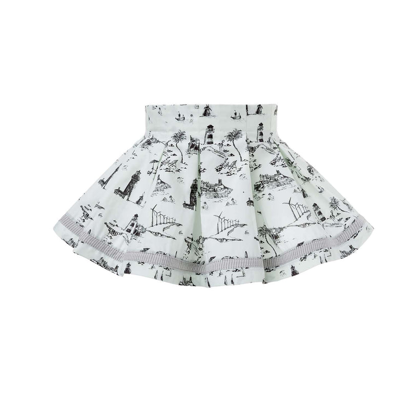 Pleated Mini Skirt with Print