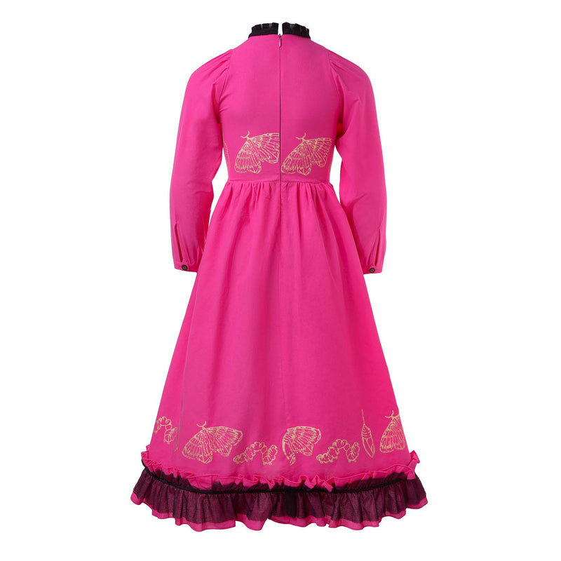 Hot Pink Dress with Ruffles and Hand Block Print