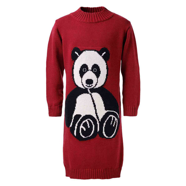 Red Knitted Dress with Panda