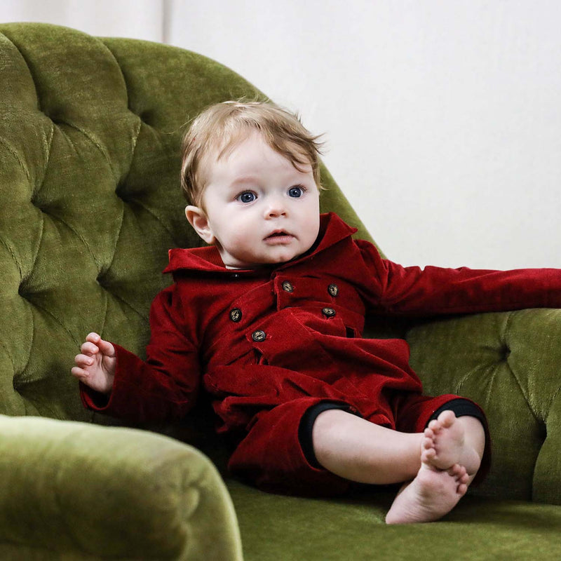Red Corduroy Baby Romper