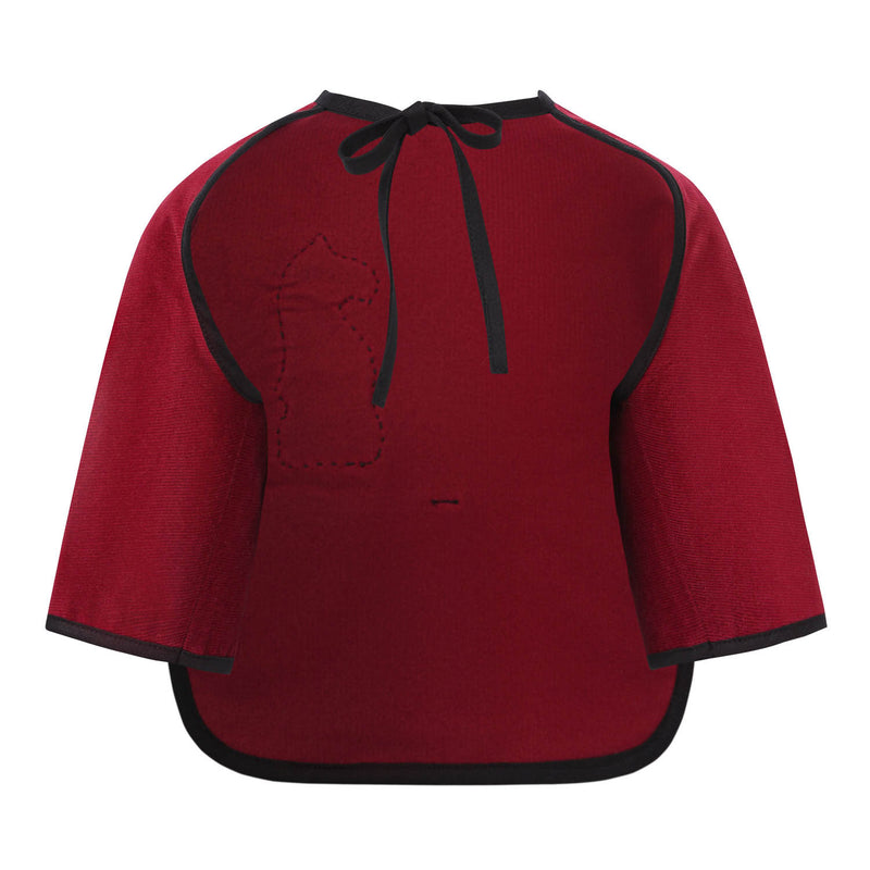 Red Corduroy Bib with Sleeves