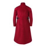 Red Corduroy Turtleneck Dress