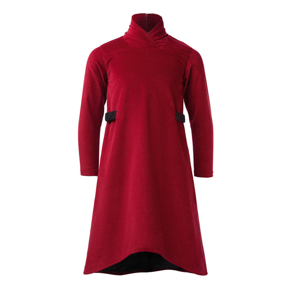 Red Corduroy Tutleneck Dress