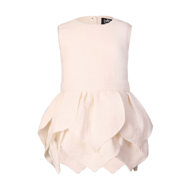 White Baby Dress with Flower Petals