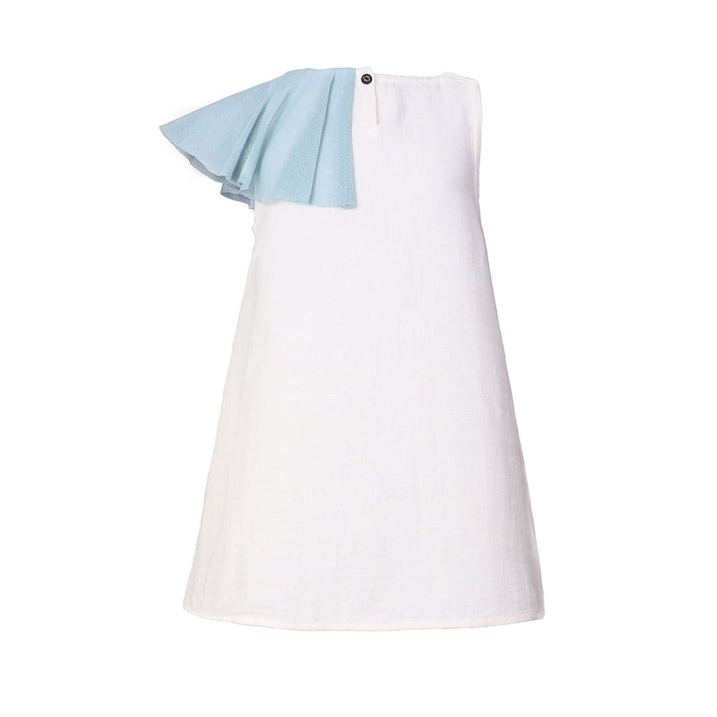 White Dress with Asymetric Shoulder