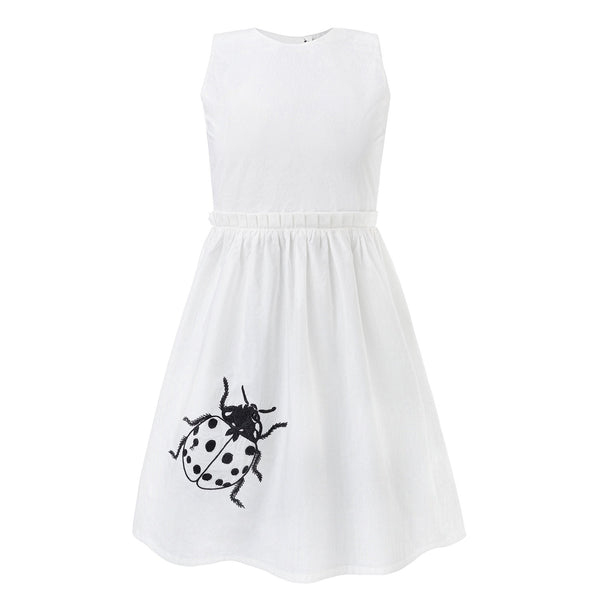 White Dress with Cutout Back and Ladybug Hand Embroidery