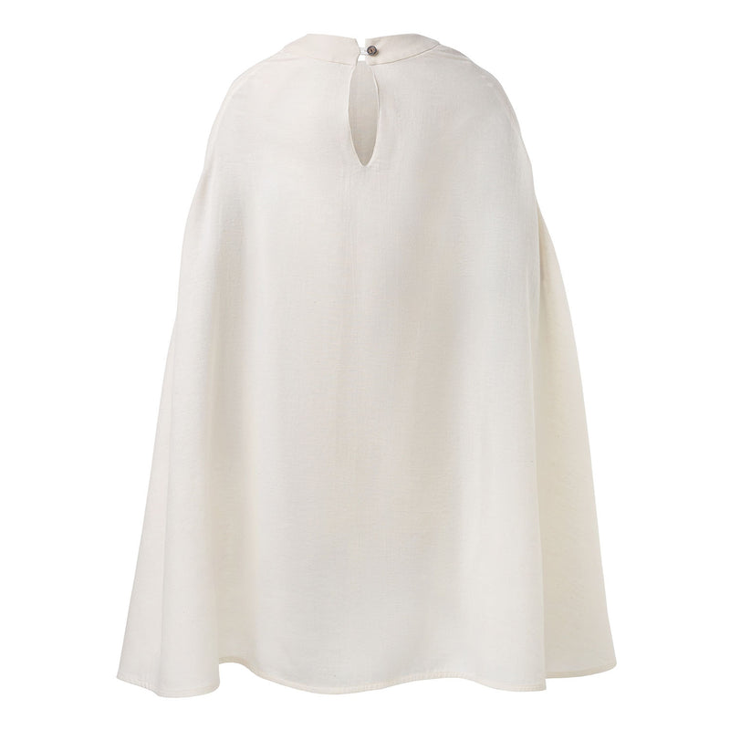 Off-White Cape Dress with Hand Smock