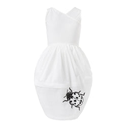 White Dress with Ladybug Hand Embroidery