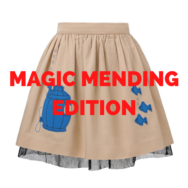 MAGIC MENDING PRELOVED Beige Cotton Skirt with Submarine, 2 years