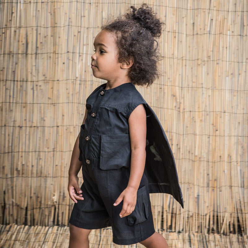Superhero Black Overall with Cape