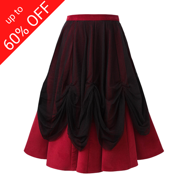 Red Corduroy Skirt with Tulle