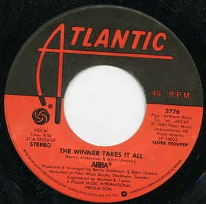 "ABBA ‎– The Winner Takes It All / Elaine - Mint- 7"" Single 45rpm 1980 Atlantic Records - Pop/ Disco/ Europop"
