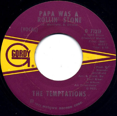 "The Temptations ‎– Papa Was A Rollin' Stone - VG-  7"" Single 45rpm 10972 Gordy US - Soul"
