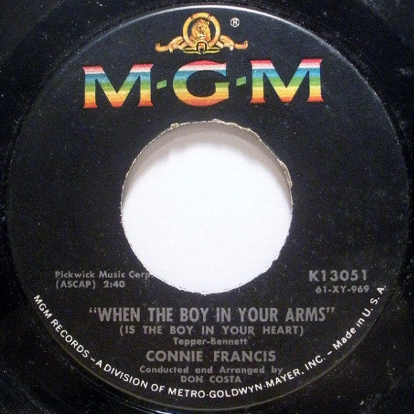 "Connie Francis- When The Boy In Your Arms (Is The Boy In Your Heart) / Baby's First Christmas- VG+ 7"" Single 45RPM- 1961 MGM Records USA- Pop"