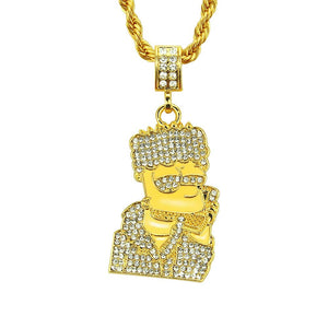 Bart Simpson Rapper Stainless Steel 14K Gold Plated Necklace
