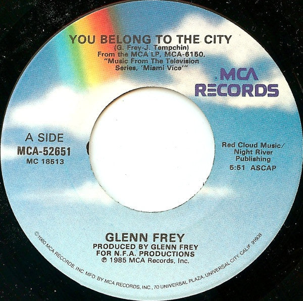 "Glenn Frey- You Belong To The City / Smugglers Blues- VG+ 7"" Single 45RPM- 1985 MCA Records USA- Pop Rock/Synth"