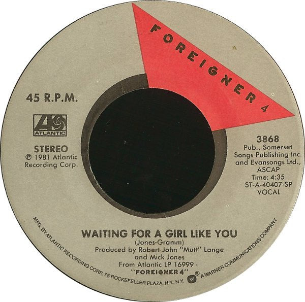 "Foreigner- Waiting For A Girl Like You / I'm Gonna Win- VG+ 7"" Single 45RPM- 1981 Atlantic USA- Rock"