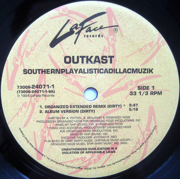 "OutKast - Southernplayalisticadillacmuzik - VG 12"" Single USA 1994 Original Press - Hip Jop"