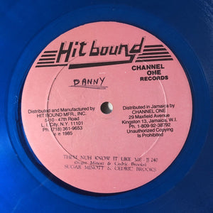 "Sugar Minott & Cedric Brooks ‎– Them Nuh Know It Like Me - VG 12"" Single Record 1985 USA Original Transparent Blue Vinyl - Reggae / Dancehall"