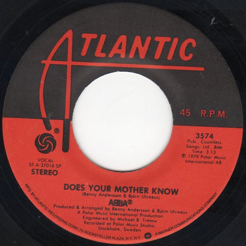 "ABBA ‎– Does Your Mother Know / Kisses Of Fire - VG+ 7"" Single 45 rpm 1979 Atlantic USA - Europop / Disco"
