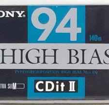 New Sealed Sony High Bias Type II CD-IT 94 Minute Blank Cassette Tape