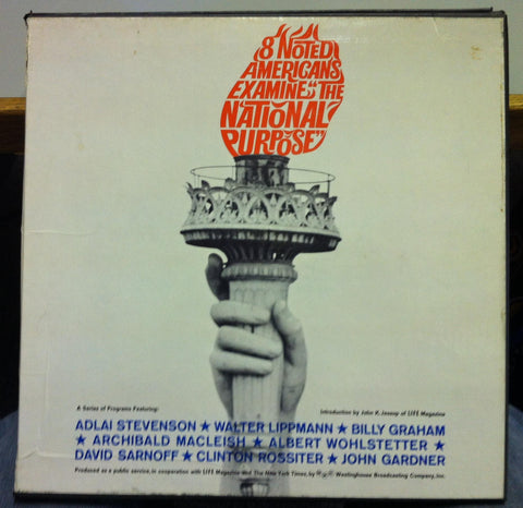 8 NOTED AMERICANS EXAMINE the national purpose 5 LP VG+ Rare Spoken Word Box Set