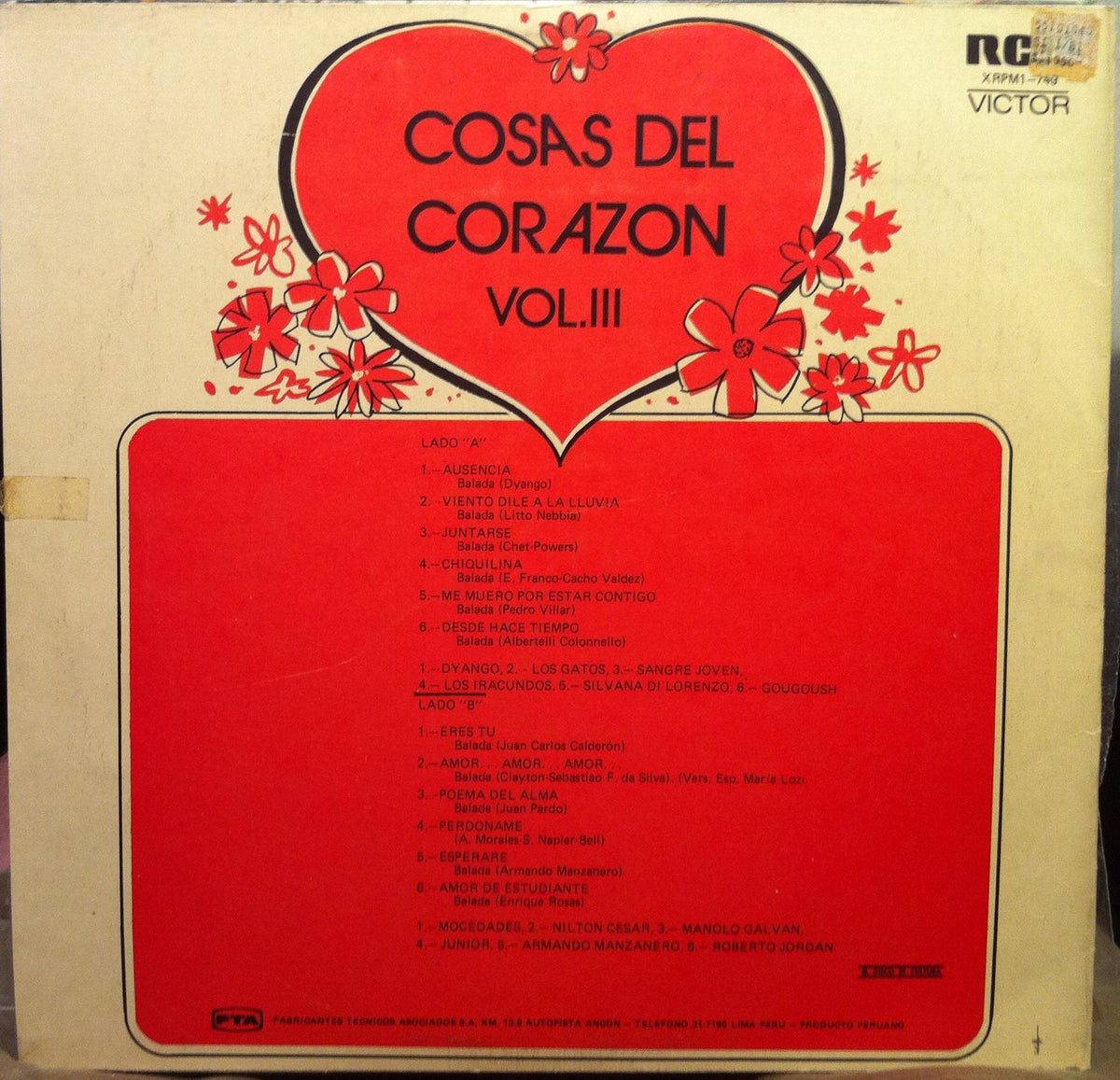 Various Cosas Del Corazon Vol Iii Lp Vg Xrpm1 749 Vinyl Record Shuga Records