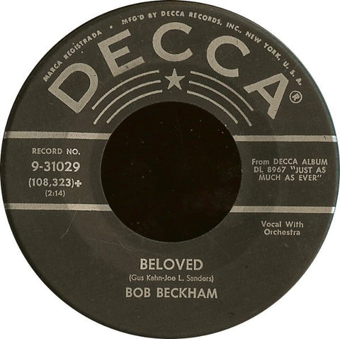 "Bob Beckham ‎– Crazy Arms / Beloved MINT- 7"" Single 45rpm 1959 Decca USA - Country"