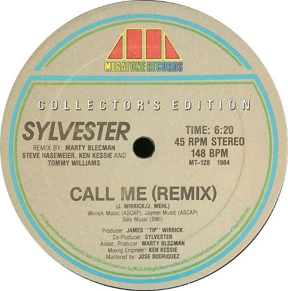 "Sylvester - Call Me (Remix) - VG+ 12"" Single USA 1984 - Hi NRG/Italo Disco"