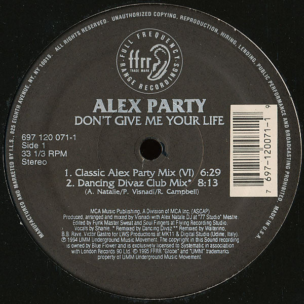 "Alex Party ‎– Don't Give Me Your Life VG+ 12"" Single 1995 FFRR USA - House"