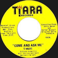 "5 Wagers ‎– Come And Ask Me VG+ 7"" Single Tiara Records - Chicago Soul"