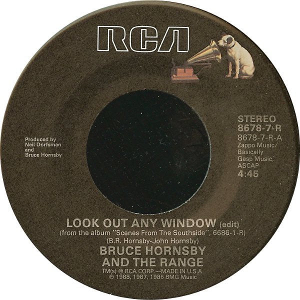 "Bruce Hornsby And The Range- Look Out Any Window / The Way It Is- VG+ 7"" Single 45RPM- 1988 RCA USA- Rock"