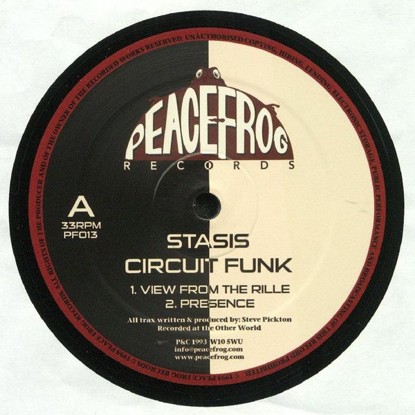 "Stasis ‎– Circuit Funk (1993) - New 12"" Single Record 2018 Peacefrog UK Import Vinyl - Electronic / Techno"