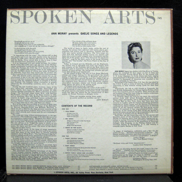 Ann Moray - Gaelic Songs And Legends LP VG+ Spoken Arts 745 Mono Vinyl
