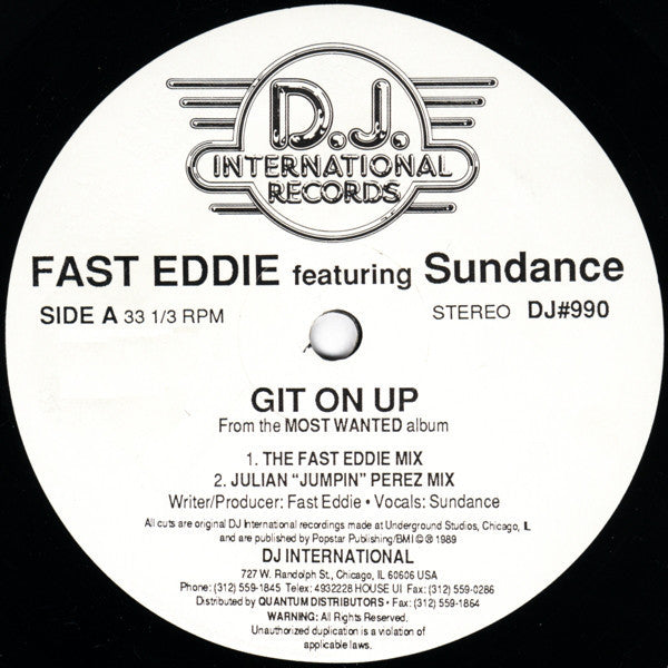 "Fast Eddie Featuring Sundance – Git On Up - VG+ 12"" Single USA 1989 - Chicago House"