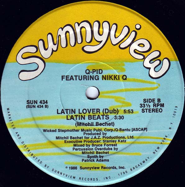 "Q-Pid Featuring Nikki Q ‎- My Latin Lover - Mint- 12"" Single Promo 1986 USA - Electro"
