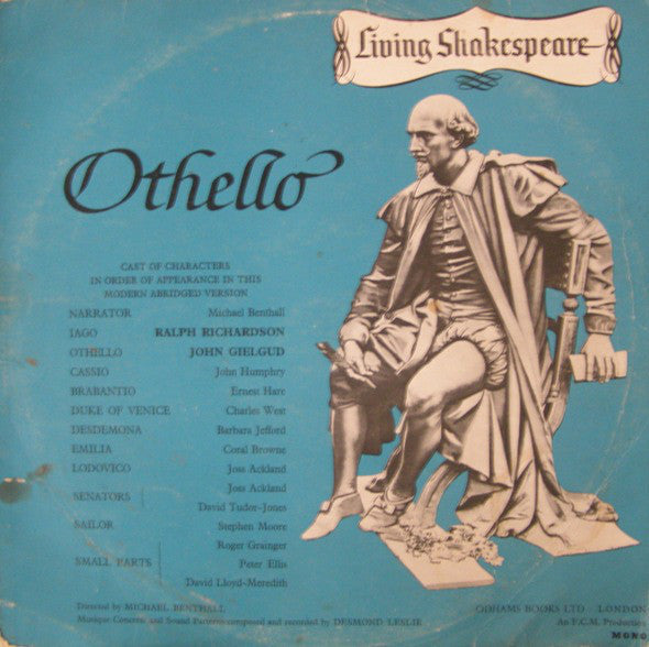 William Shakespeare ‎– Living Shakespeare - Othello - VG+ 1962 USA Mono (With Book) - Spoken Word