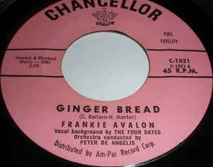 "Frankie Avalon- Ginger Bread / Blue Betty- VG+ 7"" Single 45RPM- 1958 Chancellor USA- Pop"